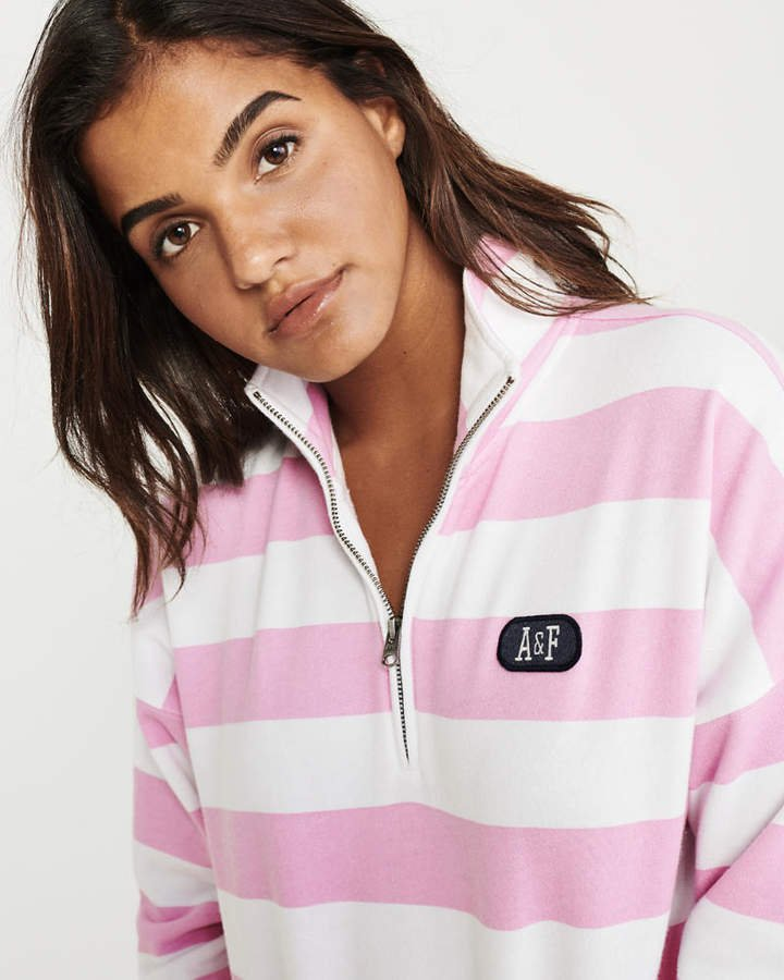 A&F Women's Striped Half-Zip Sweatshirt in Pink - Size S