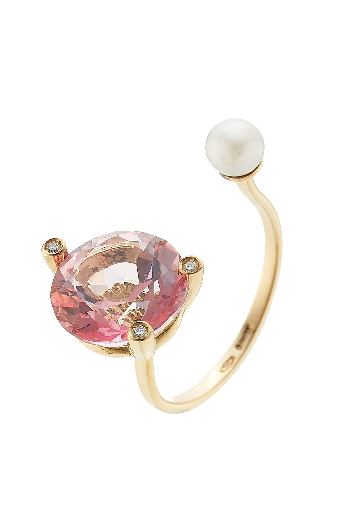 18kt Gold Ring with Pink Topaz, White Diamonds and Pearl Gr. One Size