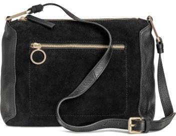 Suede and Leather Shoulder Bag - Black