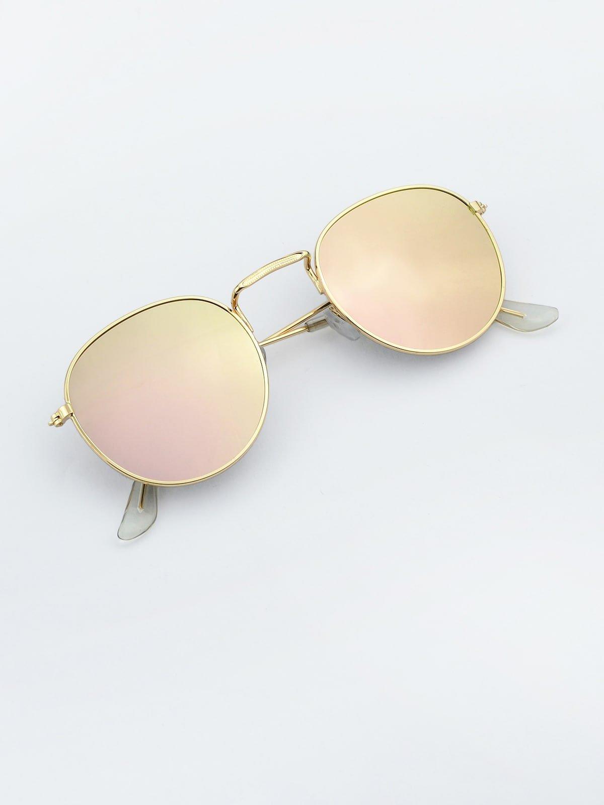Pink Round Oversized Sunglasses   ROMWE