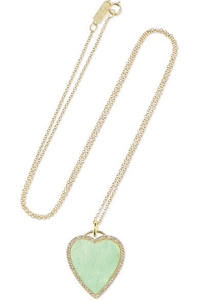 Jennifer Meyer | Heart 18-karat gold, turquoise and diamond necklace | NET-A-PORTER.COM