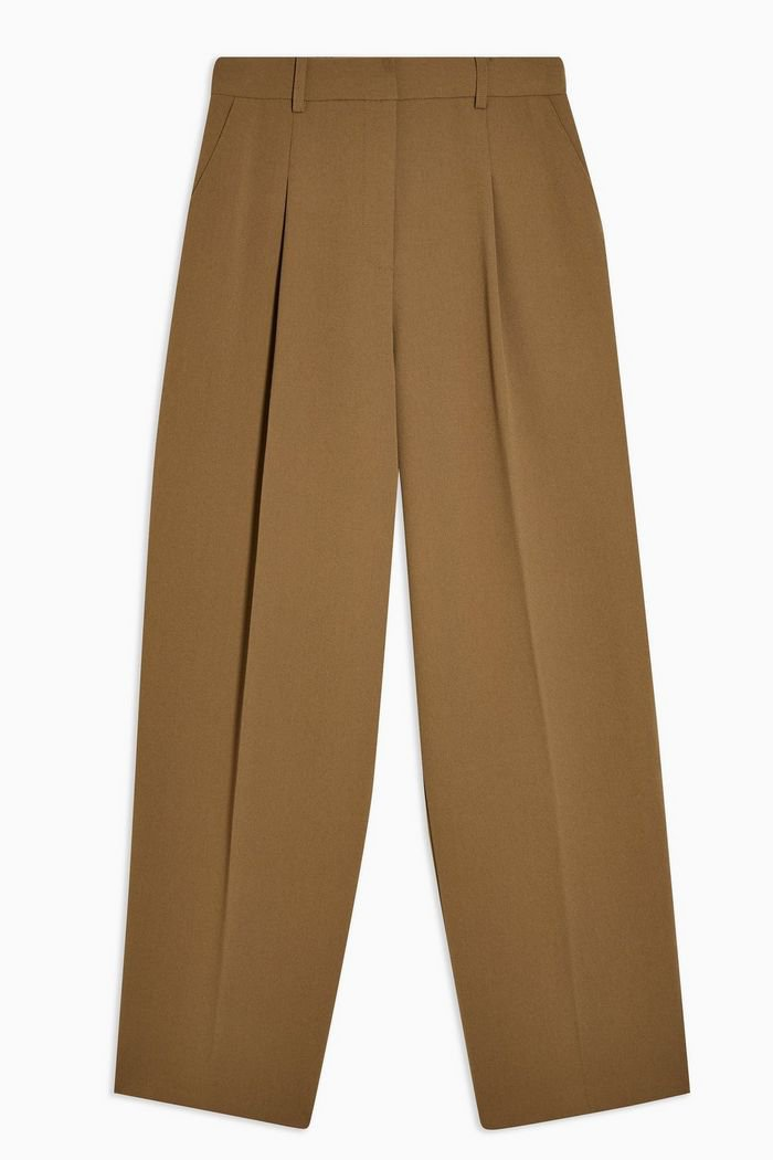 Khaki Slouch Peg Trousers With Elastic Back   Topshop