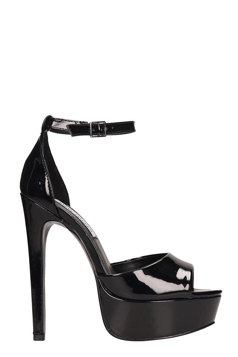 Steve Madden Major Black Patent Leather Sandals