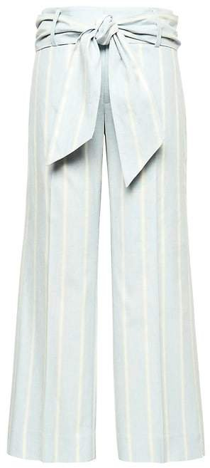 Logan Trouser-Fit Cropped Stretch Linen-Cotton Pant with Tie Waist