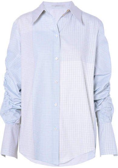 Ruched Oversized Cotton-poplin Shirt - Sky blue