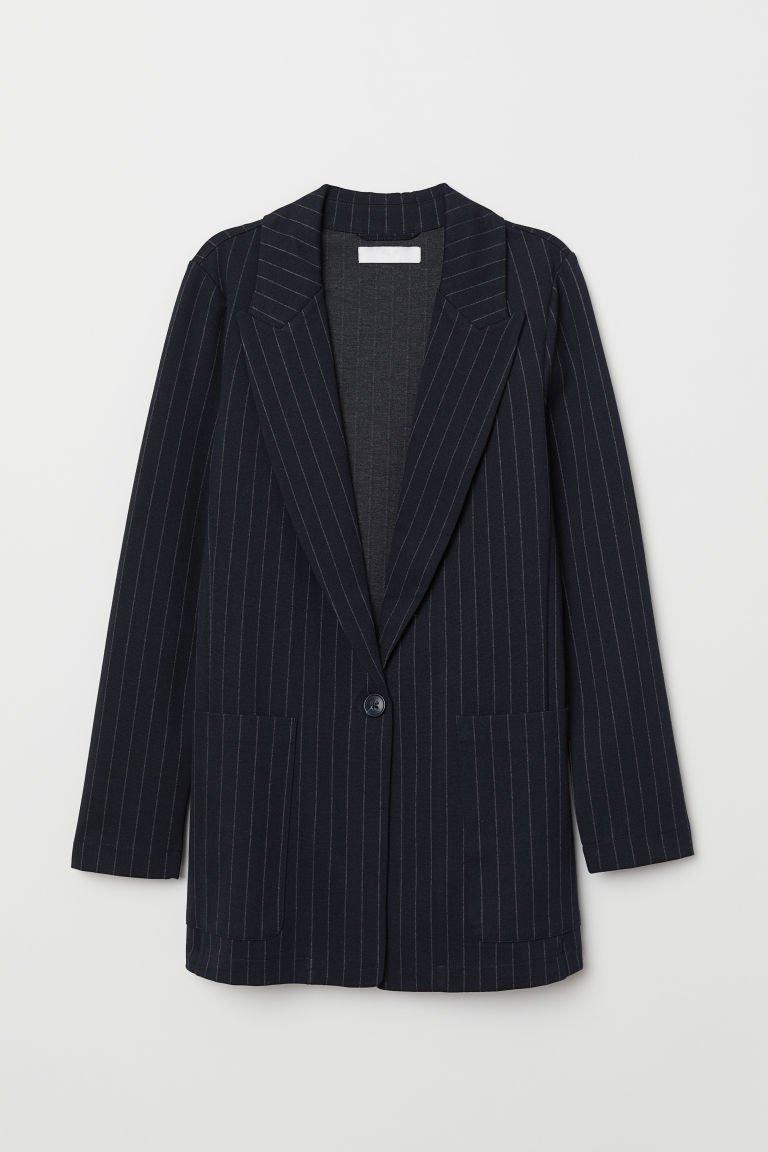 Jersey jacket - Dark blue/Pinstriped - Ladies | H&M GB