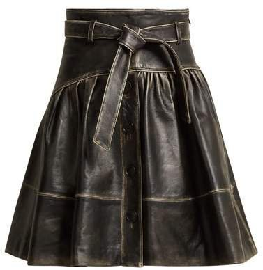 Distressed Leather A Line Skirt - Womens - Black