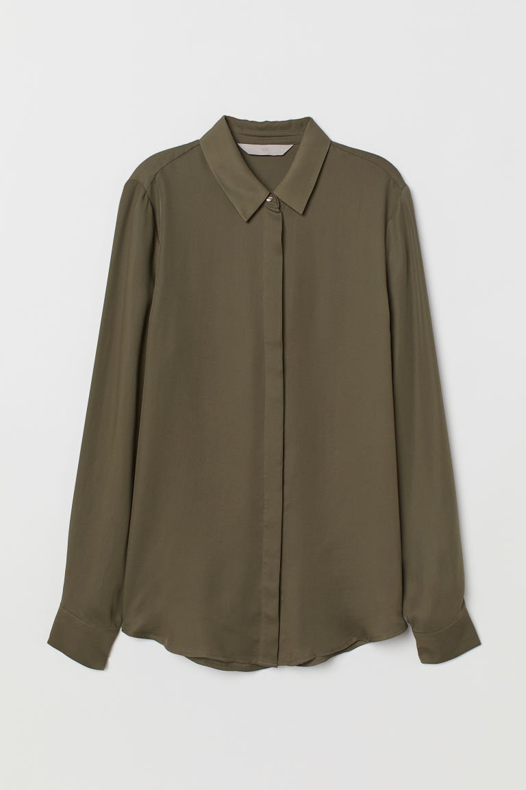 Long-sleeved Blouse - Khaki green - Ladies | H&M US