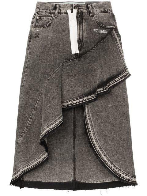 Off-White asymmetric contrast zip denim skirt