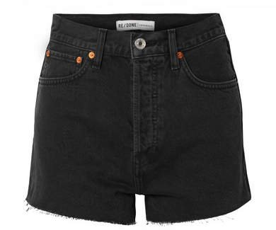 Frayed Denim Shorts - Black