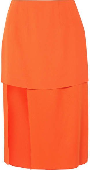 Asymmetric Layered Crepe And Satin Skirt - Orange
