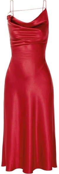 Cushnie - Ruby Draped Silk-charmeuse Dress - Red