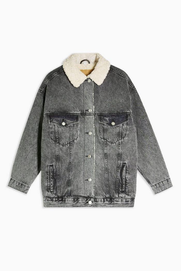 Bleach Super Oversized Borg Lined Denim Jacket | Topshop