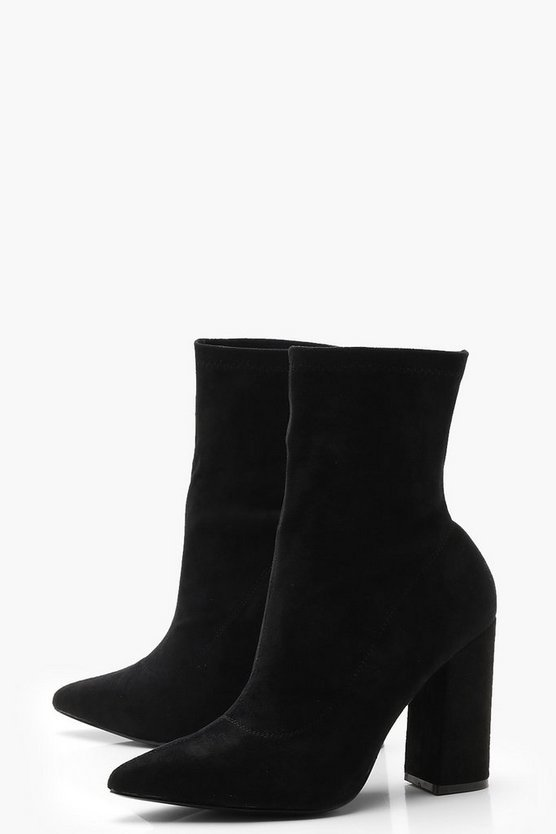 Wide Fit Block Heel Sock Boots | Boohoo