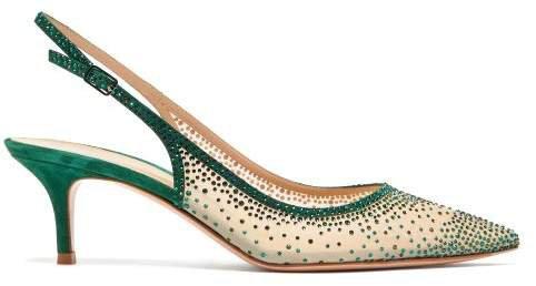 Regina 55 Crystal Embellished Slingback Pumps - Womens - Dark Green