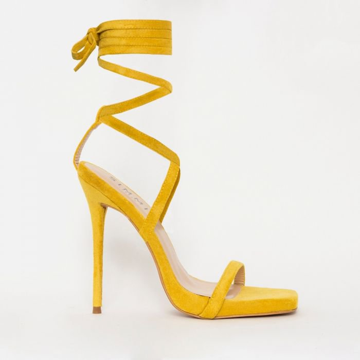 Jessie Yellow Suede Lace Up Square Toe Heels
