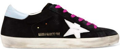 Superstar Distressed Glittered Suede Sneakers - Black