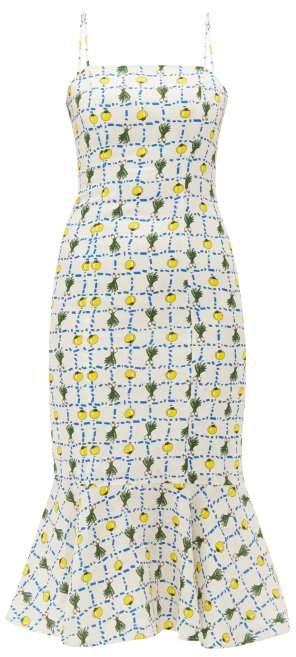 Vegetable Print Fishtail Hem Linen Midi Dress - Womens - Ivory Multi