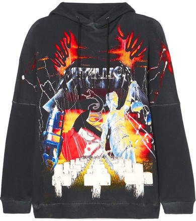 Oversized Printed Cotton-blend Jersey Hoodie - Black