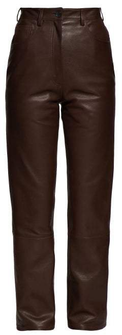 Charlee High Rise Leather Trousers - Womens - Brown