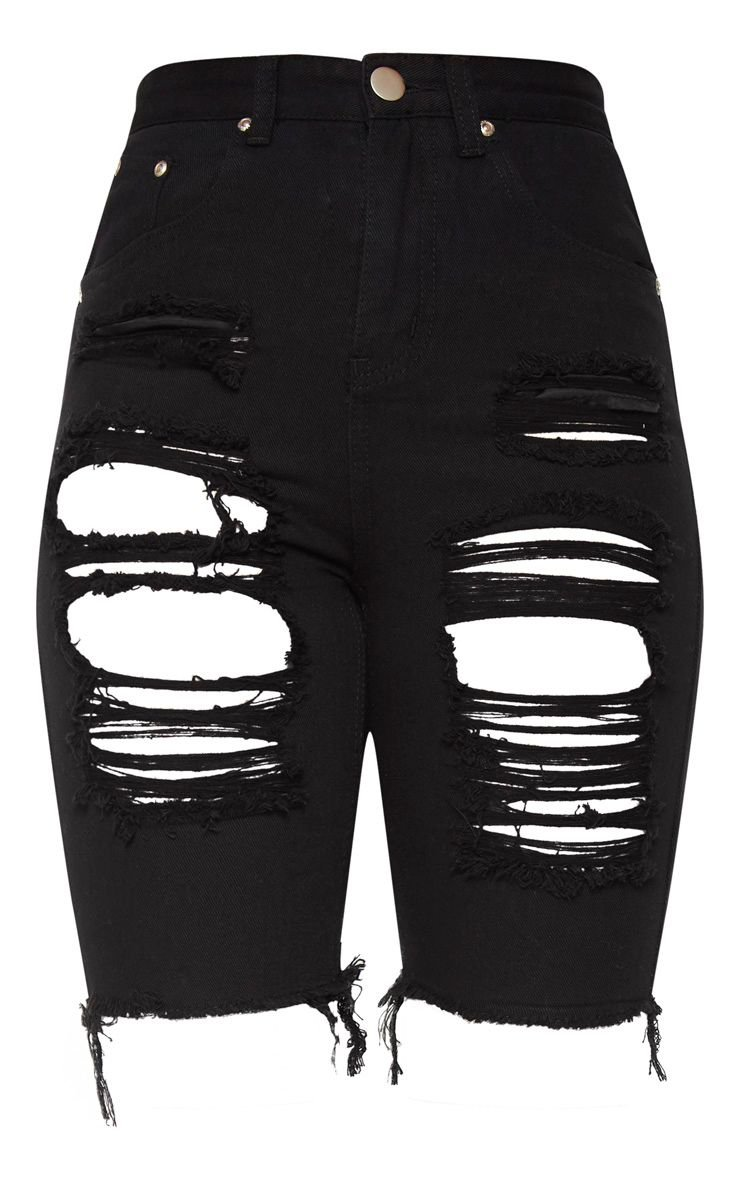 Black Extreme Distressed Long Shorts   Denim   PrettyLittleThing USA