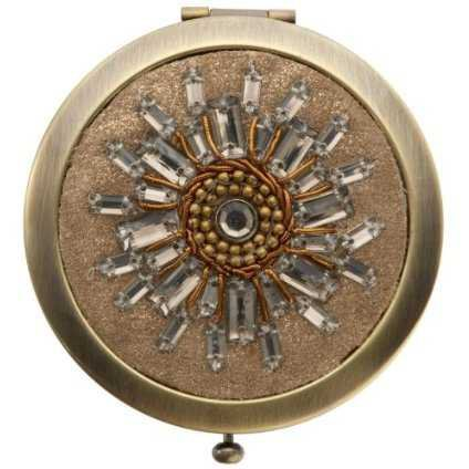 Gold Beaded Compact Mirror