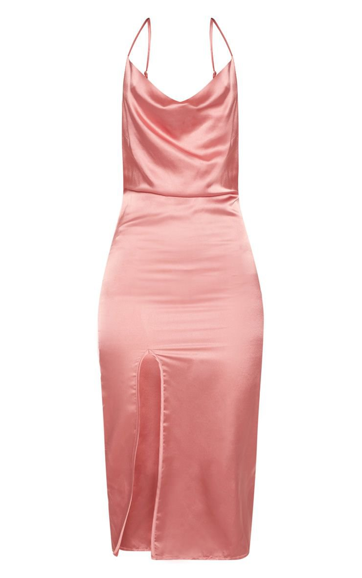 Rose Strappy Satin Cowl Midi Dress   PrettyLittleThing