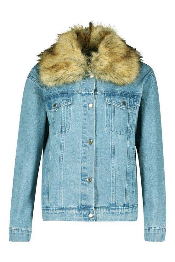 Faux Fur Collar Denim Jacket | Boohoo blue