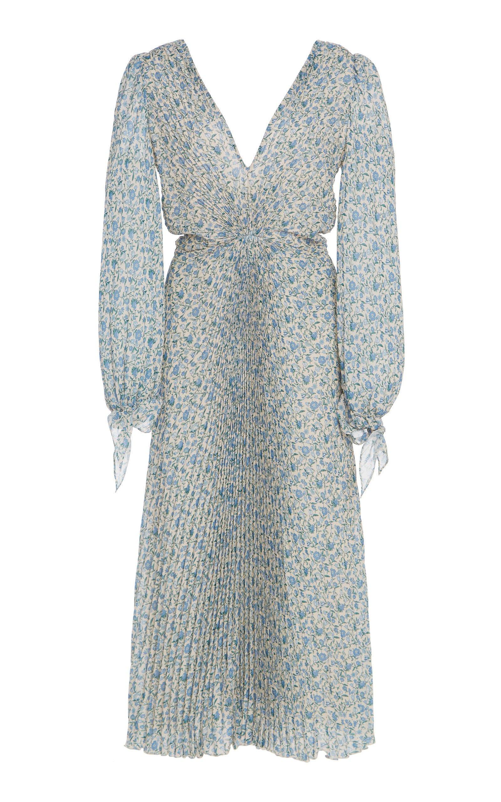 Luisa Beccaria Pleated Micro Floral Midi Dress