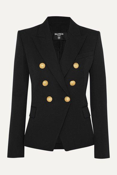 Balmain | Double-breasted wool-twill blazer | NET-A-PORTER.COM