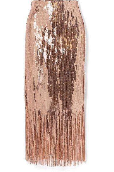 Rebecca Vallance | Matisse fringed sequined stretch-crepe midi skirt | NET-A-PORTER.COM