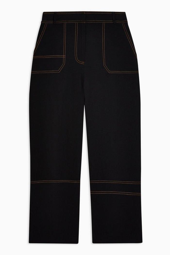 Black Contrast Stitch Utility Trousers | Topshop