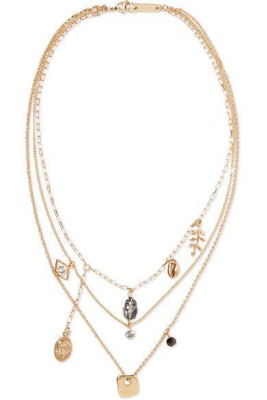 Isabel Marant | Vedette gold-tone crystal necklace | NET-A-PORTER.COM