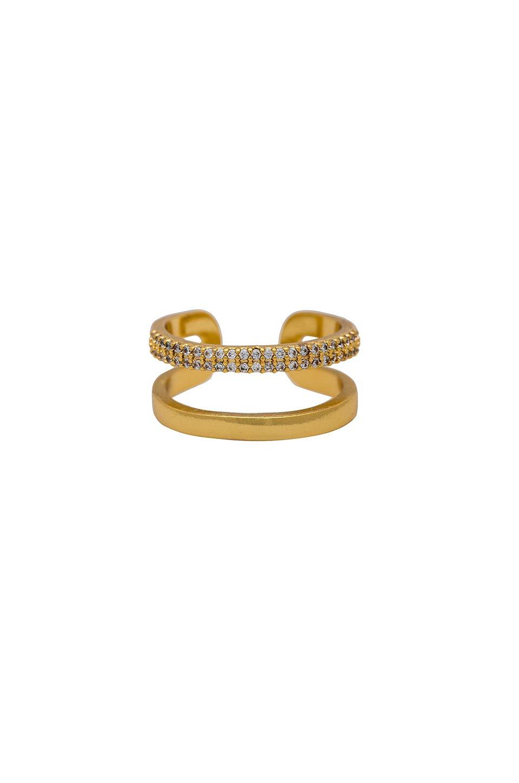 Rhinestone Double Band Ring