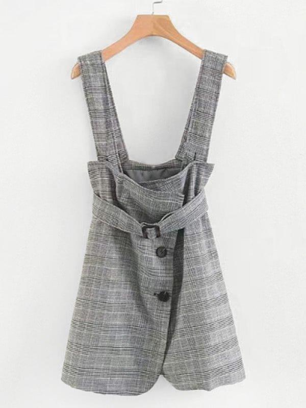 Glen Plaid Pinafore Dress With Belt