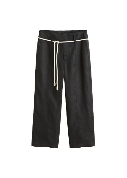 MANGO Straight linen-blend trousers
