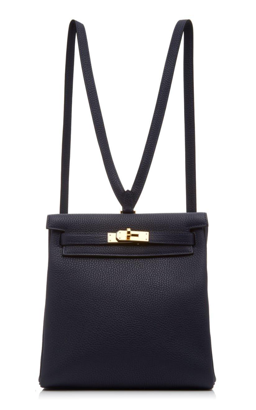 Hermès 22cm Blue Marine Togo Leather Kelly Ado Backpack by Hermès Vintage by Heritage Auctions | Moda Operandi