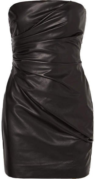 Strapless Ruched Leather Mini Dress - Black
