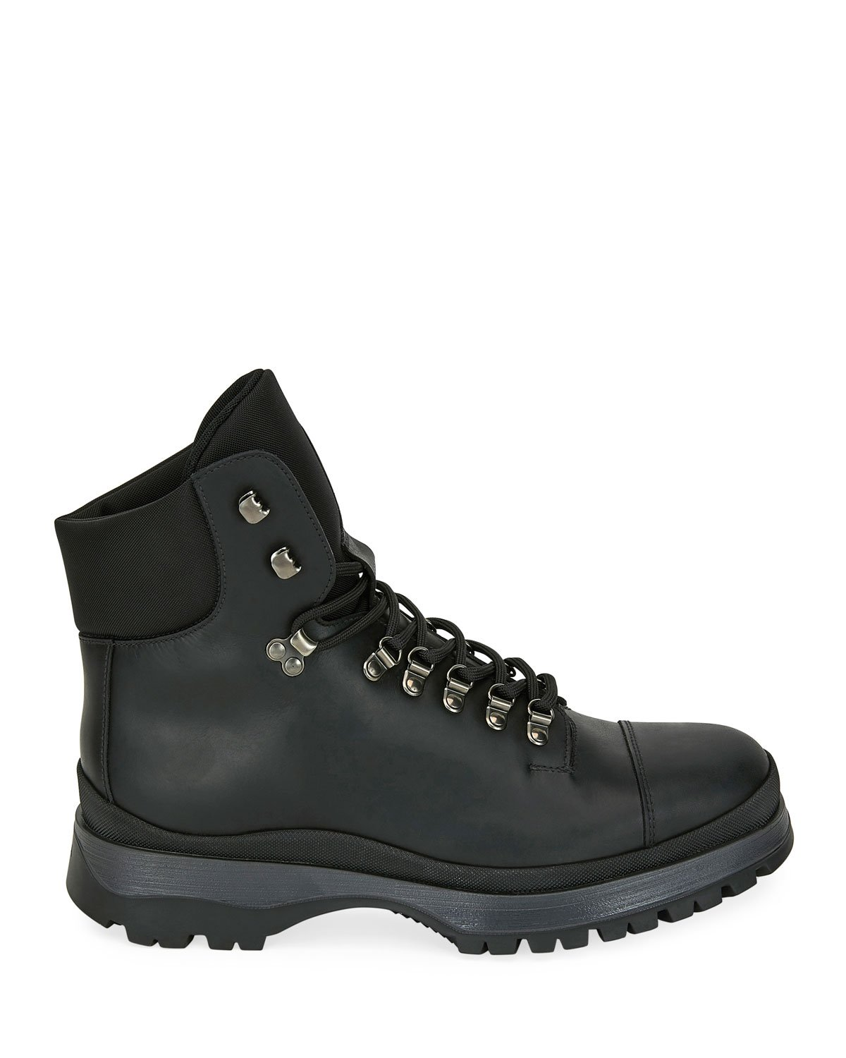 Prada Lace-Up Leather Hiker Boots