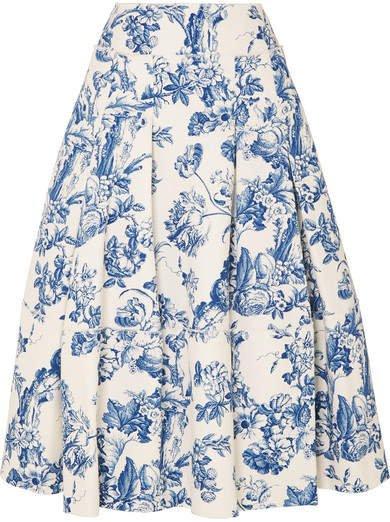 Pleated Floral-print Cotton-blend Midi Skirt - Blue