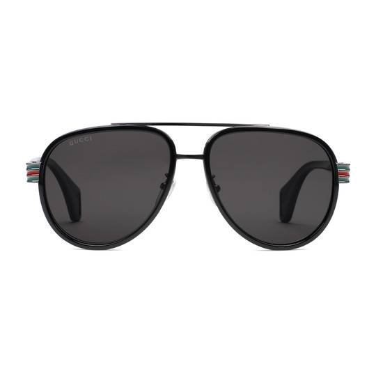 Aviator sunglasses in Shiny black acetate and silver metal frame with top bar | Gucci Men's Aviator