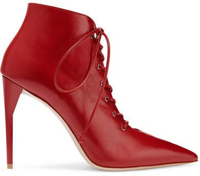 Lace-up Leather Ankle Boots - Red