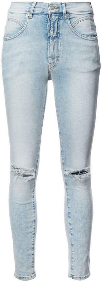 Adaptation ripped seamed skinny jeans