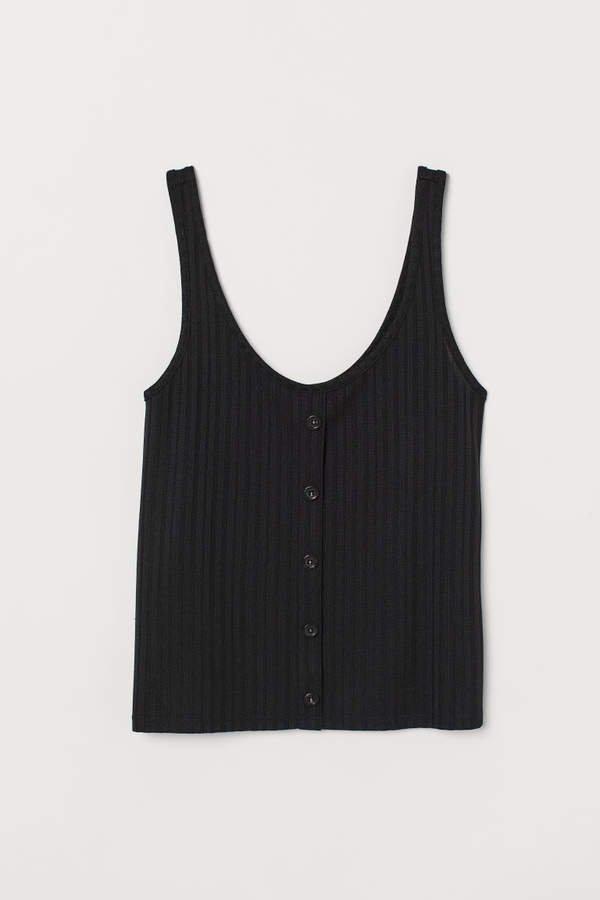 Ribbed Tank Top - Black
