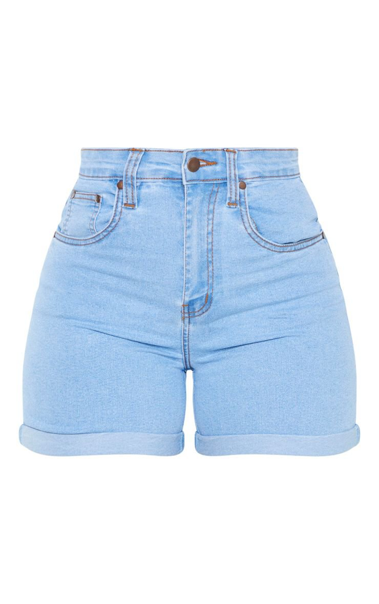 Shape Light Wash High Waist Fitted Denim Shorts | PrettyLittleThing USA