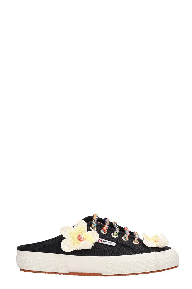 Alanui Black Canvas Sabot Flower Sneakers
