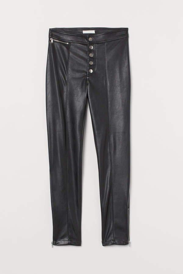 Faux Leather Pants - Black