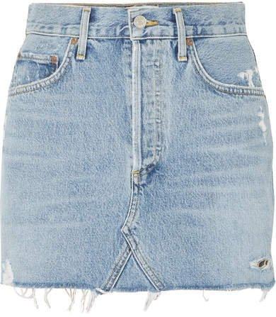 AGOLDE - Quinn Distressed Denim Mini Skirt - Mid denim