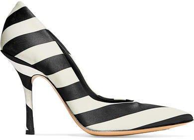 Striped Satin Pumps - Black