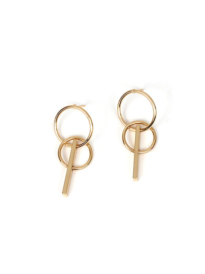 Double Ring & Bar Design Drop Earrings
